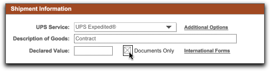 you can prepare your own international documents and still generate shipping labels within nrgship enter in the declared value and description on the main
